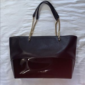 Ted Baker London Bags - Ted Baker Crystal and Faux-Pearl Lock Leather Tote